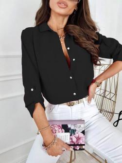 Γυναικείο μονόχρωμο πουκάμισο 9363 μαύρο