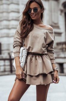 Γυναικείο σετ μπλούζα και φούστα 4095 μπεζ