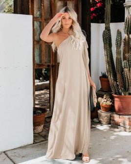 Дамска свободна рокля с един ръкав 5211 бежова