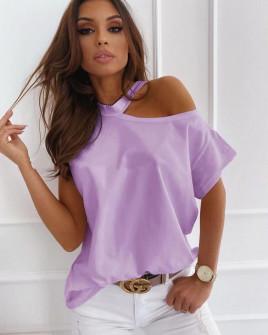 Γυναικεία μπλούζα με έναν ώμο έξω 5030 λιλά
