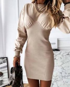Γυναικείο εφαρμοστό φόρεμα 3394 μπεζ