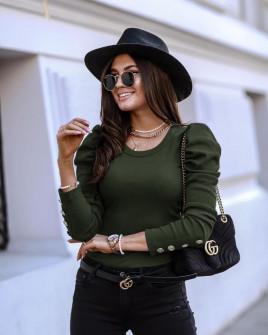 Γυναικεία μπλούζα με χρυσά κουμπιά 5375 χακί