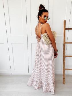 Γυναικείο εξώπλατο φόρεμα ριγέ 5123 μπεζ