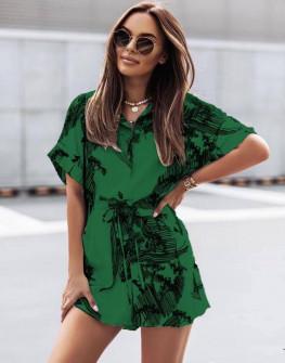 Γυναικεία ολόσωμη φόρμα με print 5836 πράσινη