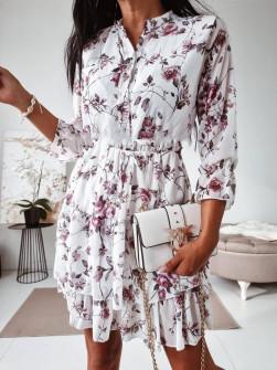 Γυναικείο φόρεμα με print και κουμπιά 397505