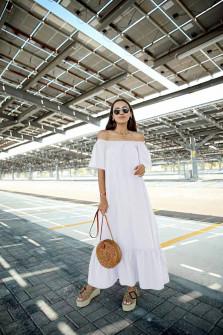 Γυναικείο μακρύ χαλαρό φόρεμα 5185 άσπρο