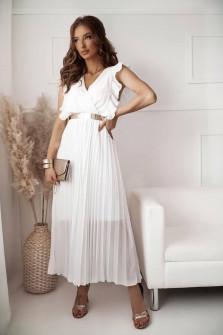 Γυναικείο μακρύ φόρεμα σολέιγ 20116 άσπρο