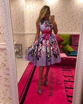 Γυναικείο φόρεμα με φλοράλ ντεσέν 9234 μωβ