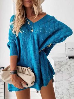 Γυναικείο πλεκτό μπλουζοφόρεμα 88017 τυρκουάζ