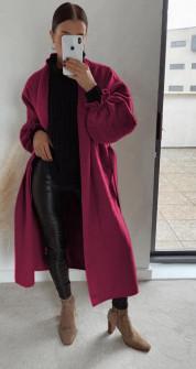 Παλτό χωρίς φόδρα 20911 μπορντό