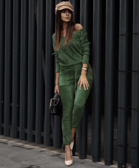 Γυναικείο σετ βελουτέ 5380 πράσινο