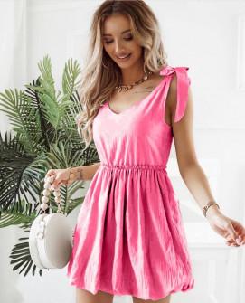 Γυναικείο φόρεμα με εντυπωσιακές τιράντες 8088 ροζ