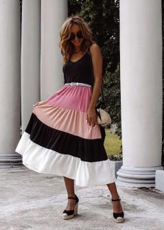 Γυναικείο τρίχρωμο φόρεμα 7072 ροζ