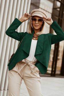 Γυναικείο κοντό βελούδινο σακάκι 6015 πράσινο