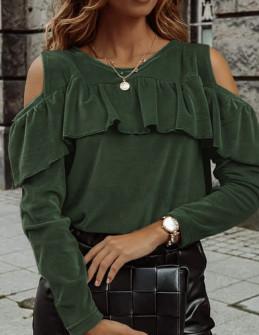 Γυναικεία μπλούζα βελουτέ 5385 χακί