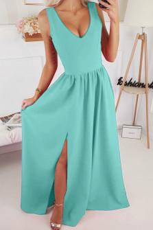 Γυναικείο μακρύ φόρεμα με σκίσιμο 1977 μέντα