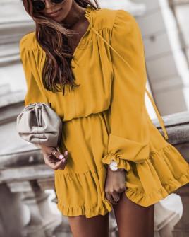Γυναικείο εντυπωσιακό φόρεμα 7105 κίτρινο
