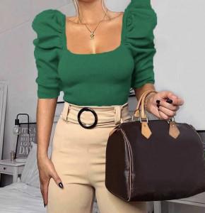 Γυναικεία μπλούζα με φουσκωτό μανίκι 2405 πράσινη