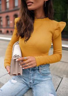 Εντυπωσιακή εφαρμοστή μπλούζα 5400 κίτρινη