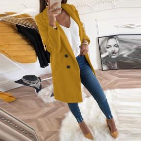 Γυναικείο στιλάτο παλτό 18829 κίτρινο