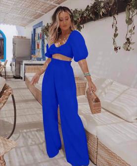 Γυναικείο σετ τοπάκι και παντελόνι 5725 μπλε