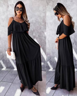 Γυναικείο μακρύ φόρεμα 5701 μαύρο