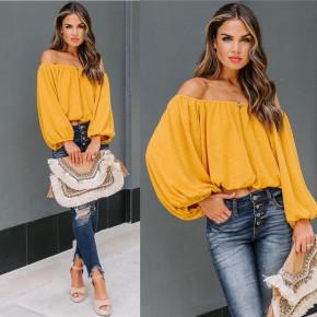 Γυναικεία έξωμη μπλούζα 2404 κίτρινη