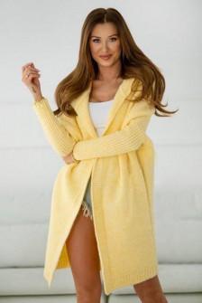 Γυναικεία ζακέτα με κουκούλα 88072 κίτρινη