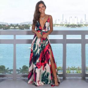 Γυναικείο φόρεμα φλοράλ με σκίσιμο 559803