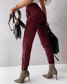 ΠαντελόνιΓυναικείο παντελόνι με κουπιά στο πόδι 5954 μπορντό