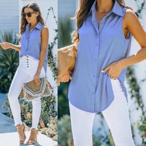 Γυναικείο αμάνικο πουκάμισο 21157 γαλάζιο
