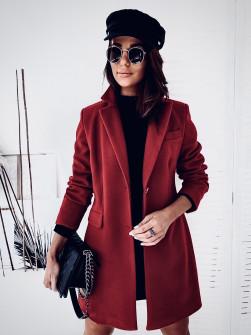 Γυναικείο εντυπωσιακό παλτό με φόδρα 20378 μπορντό