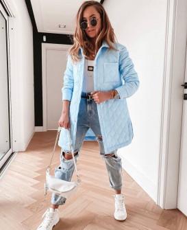 Γυναικείο μπουφάν με μήκος πάνω από το γόνατο 82099 γαλάζιο