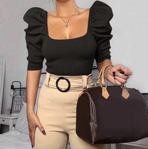 Γυναικεία μπλούζα με φουσκωτό μανίκι 2405 μαύρη