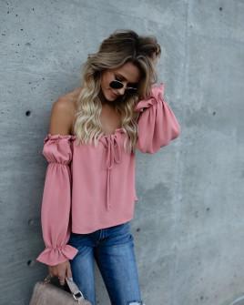 Дамска блуза с ластично деколте 3168 розова