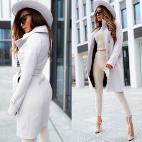 Γυναικείο κομψό παλτό με φόδρα 6083 άσπρο