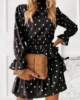 Γυναικείο φόρεμα πουά 4288 μαύρο