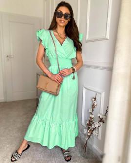 Γυναικείο μακρύ μονόχρωμο φόρεμα 8151 πράσινο