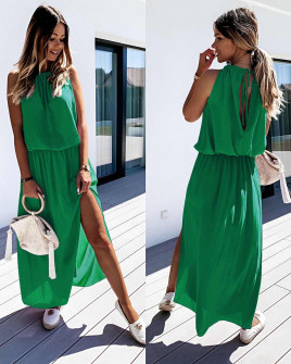 Μακρύ χαλαρό φόρεμα 5171 πράσινο