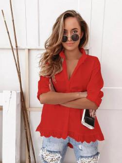 Γυναικείο πουκάμισο με δαντέλα 21069 κόκκινο