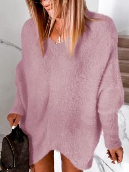 Γυναικείο χνουδωτό μπλουζοφόρεμα 5351 ροζ