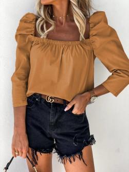 Γυναικεία μπλούζα με φουσκωτό μανίκι 8568 καμηλό