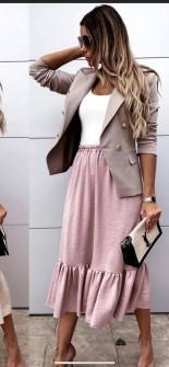 Γυναικεία φούστα με λάστιχο στη μέση 5625 ροζ