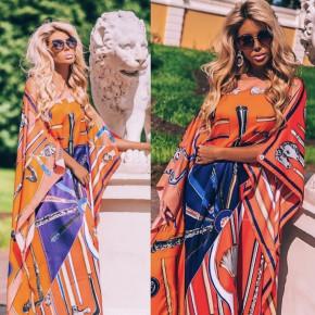 Γυναικείο φόρεμα 9465 πορτοκαλί  /μπλε