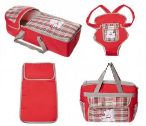Σετ πορτ μπεμπέ, τσάντα, μάρσιπος και στρώμα 04113 κόκκινο
