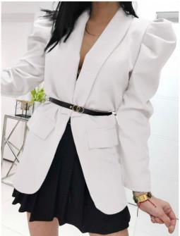 Γυναικείο σακάκι με ζώνη 5499 άσπρο