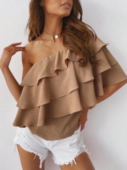 Γυναικεία έξωμη μπλούζα 5121 καφέ