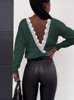 Μπλούζα με εντυπωσιακή πλάτη 3343 πράσινη
