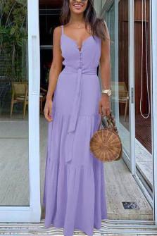 Γυναικείο μακρύ φόρεμα με κουμπιά και ζώνη 5215 λιλά
