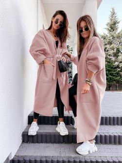 Γυναικεία μακριά ζακέτα 7119 ροζ